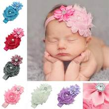Kids Baby Faux Pearl Rhinestones Stretchy Cloth Ribbon Flower Headband Hair Band Pretty ribbon and cloth flower with trimmings(China)