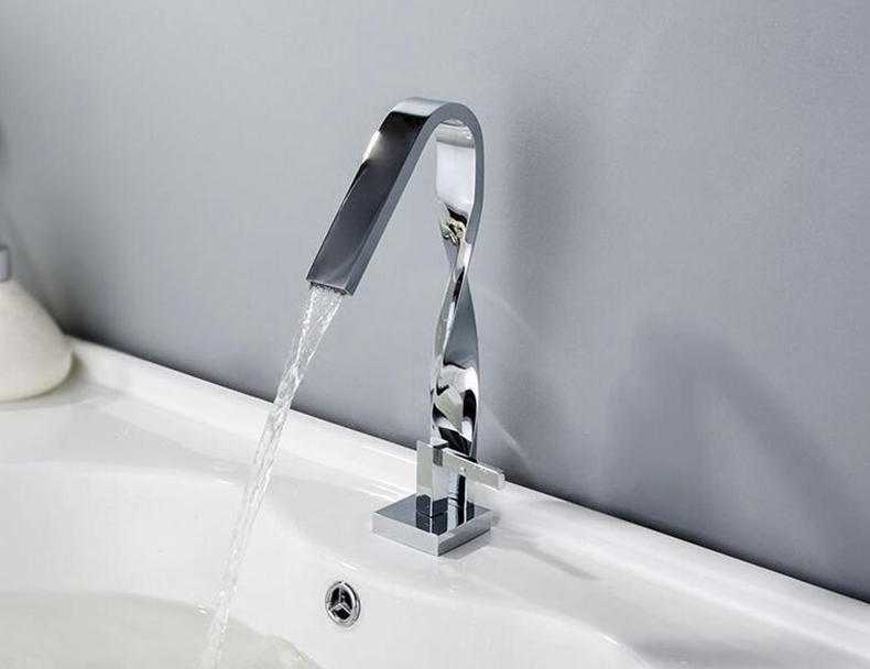 H65a66e12b4834c1494bd343c1bd9b981r Bathroom Basin Sink Tall Faucet Hot and Cold Waterfall Mixer Tap Deck Mounted Chrome Finished Advanced Faucets
