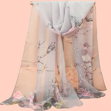 Lady Soft Wrap Scarf Women Thin Silk Scarves Multicolor Floral Print Long Chiffon Scarf For Ladies Shawl Scarves Mujer Summer
