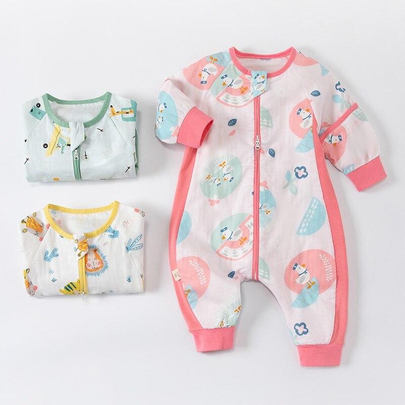 Summer Baby Sleeping Bags Newborn Sleepwear Zipper Sleepsack Cotton Sleep Sack Baby Pajamas Split-leg Jumpsuit Kids Clothing
