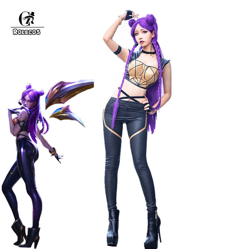 ROLECOS Gioco LOL K/DA Kaisa Costume Cosplay LOL KDA Cosplay Costume In Pelle Uniforme Costume Sexy per le Donne Pieno set con I Guanti