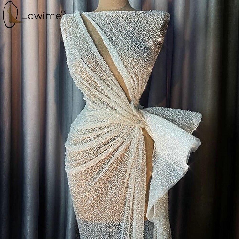 2020 Fashion Ivory Mermaid Evening Dresses Sequined Sexy Split Muslim Long Robes Vestidos De Noche Abendkleider