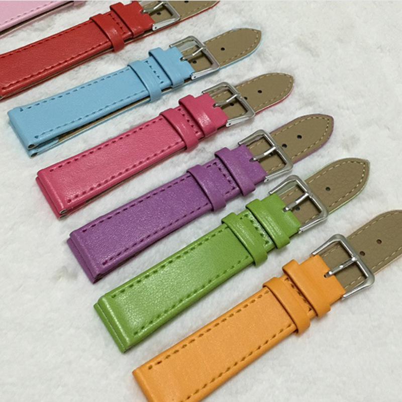 2020 New 10mm/12mm/14mm/16mm/18mm/20mm/22mm/24mm Men Women PU Leather Solid Watch Band Belt Strap Watchband