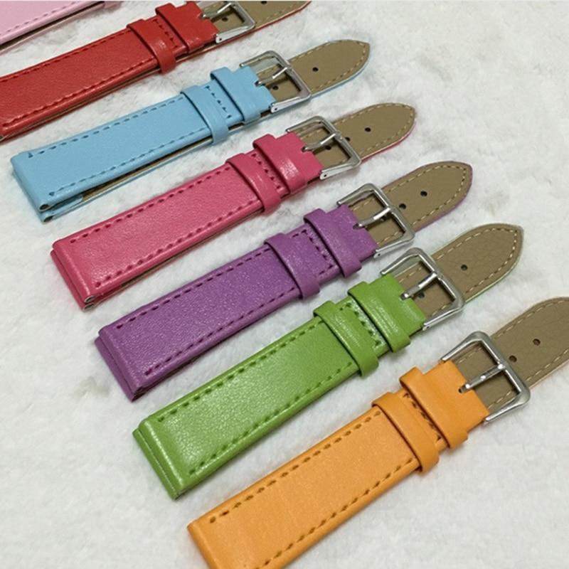 2020 New 10mm/12mm/14mm/16mm/18mm/20mm/22mm/24mm Men Women PU Leather Solid Watch Band Belt Strap Watchband