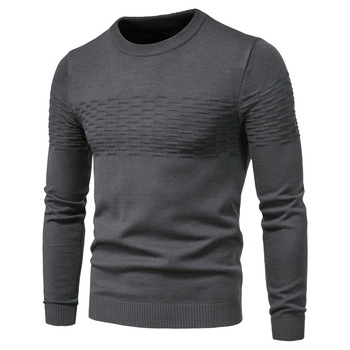Men 2020 Winer New Casual Solid Thick wool Cotton Sweater Pullovers Men High Elasticity Fashion Slim Fit O-Neck Sweater Men 1