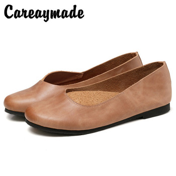 Careaymade-Original handmade Genuine leather women's shoes retro rub color shoes spring new single shoes word with flat shoes