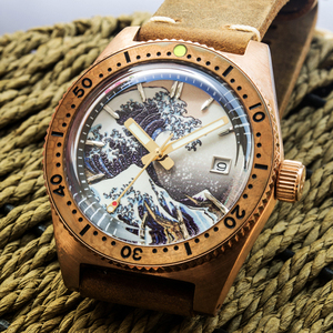 Image 3 - San Martin 62Mas Diver Full Luminous Surfing Dial Tin Bronze NH35 Automatic Mechanical Men Watch Sapphire Glass Calendar 20 Bar