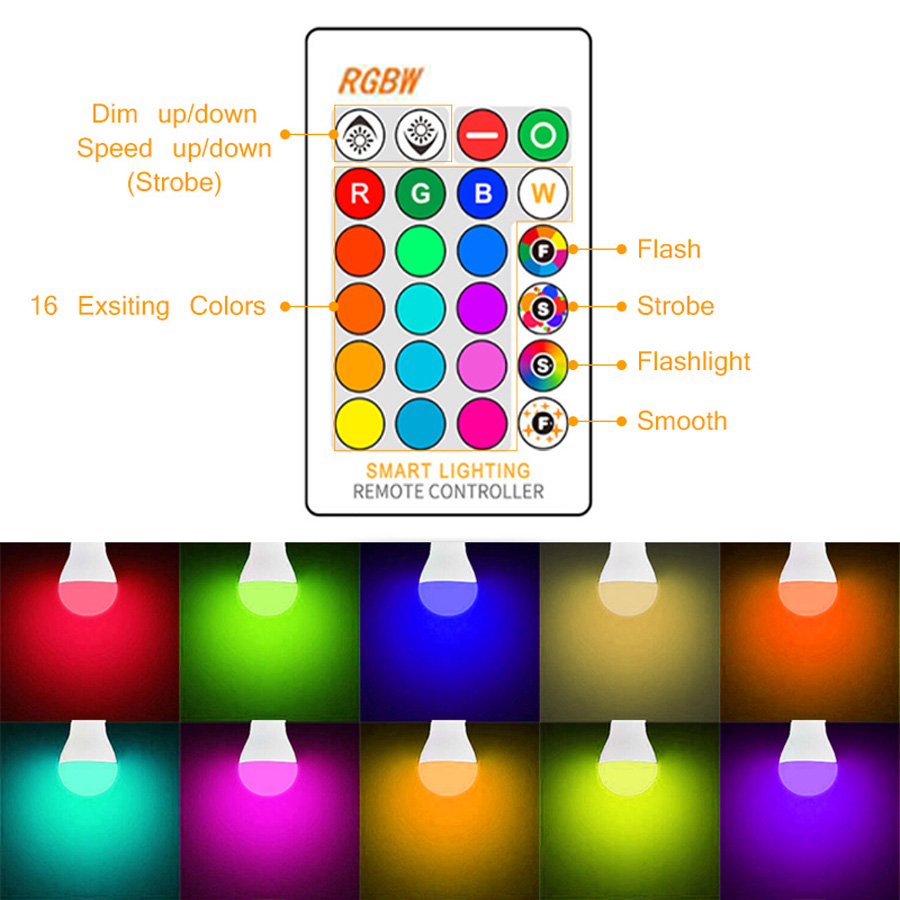 Smart E27 RGB Bluetooth Speaker LED Bulb Light 12W Music Playing Dimmable Wireless Led Lamp with 24 Keys Remote Control (3)