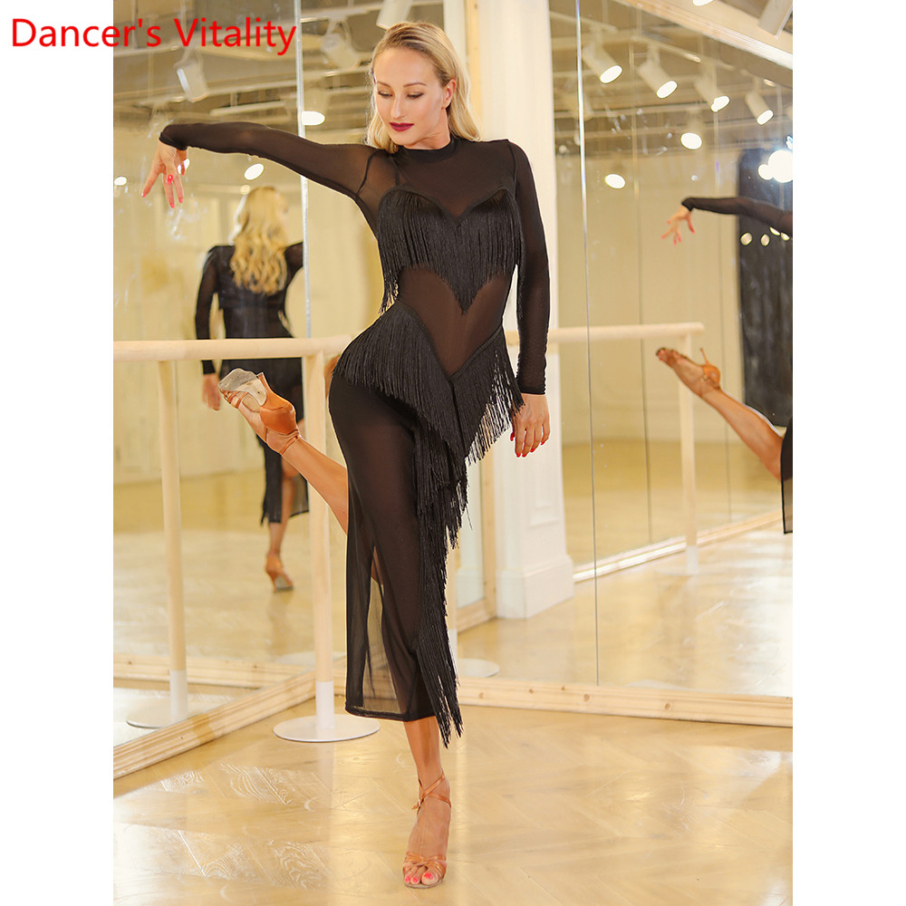 Latin Dance Practice Clothes Women Autumn Winter New Tassel Cut Out Mesh Dress Rumba Tango Cha Cha Dancing Stage Training Outfit