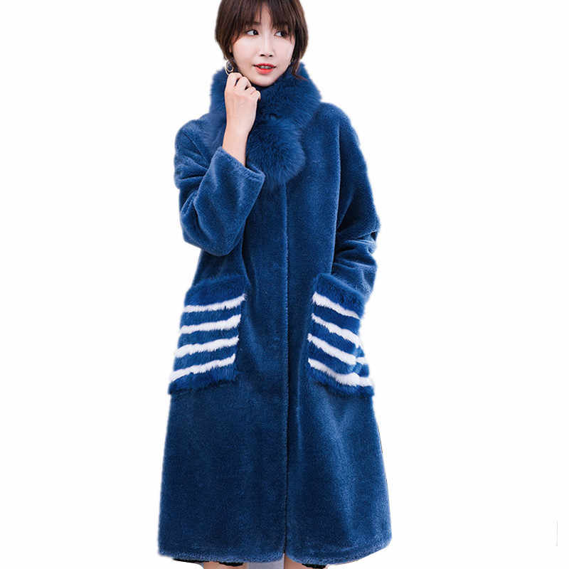 2020 kobiet płaszcz skórzany z prawdziwą wełną długa, ciepła kurtka damska zimowa z odpinanym futrem lisa kołnierz szalik odzieży 18040WYQ1805