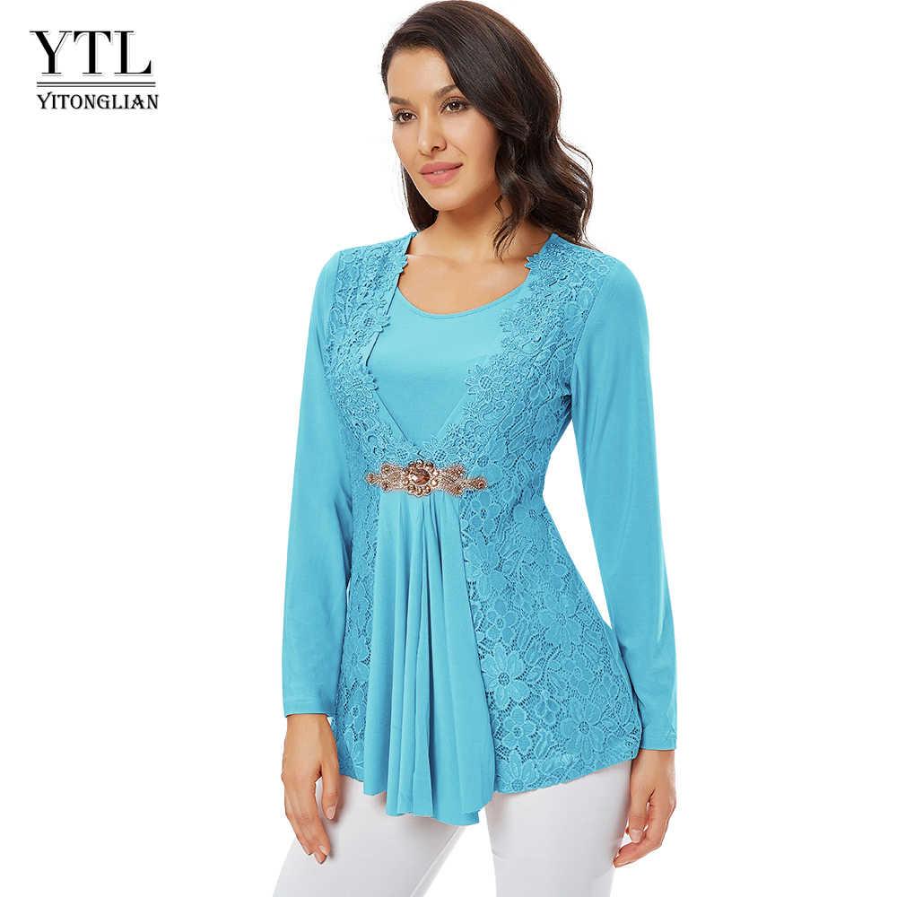 YTL Женская винтажная блузка с длинным рукавом и алмазным цветком, шикарные кружевные топы, повседневный стиль, элегантная разноцветная Женская Лоскутная рубашка H025