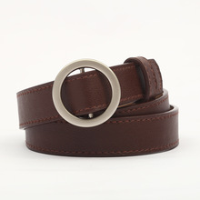Best 2019 Women leather belt Newest Round buckle belts female leisure jeans wild without pin metal strap