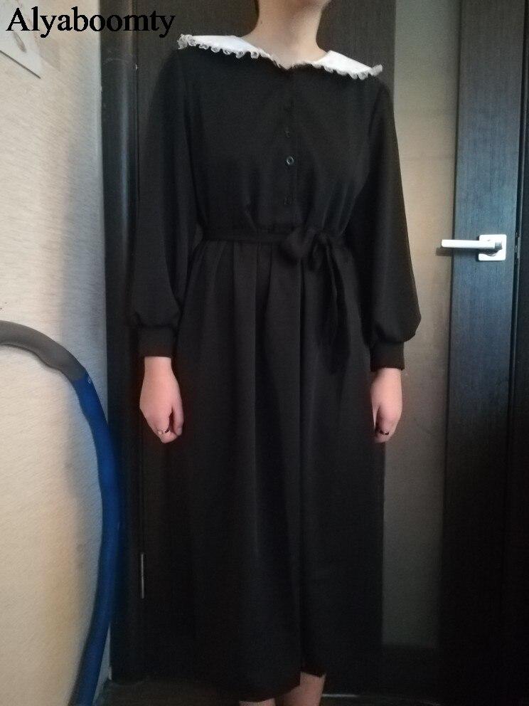 """Женское длинное платье японского стиля """"Harajuku"""",нежное женственное платье с воротником """"Питер Пэн"""",стильное милое платье с длинным рукавом,повседневное платье весна-осень,черного цвета"""