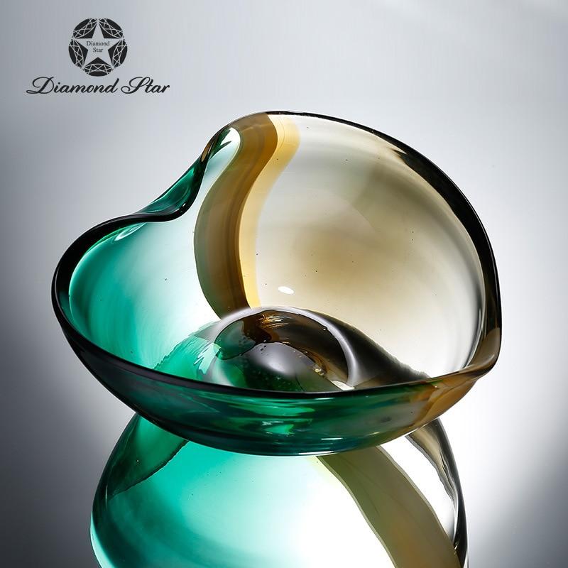Алмазная звезда стеклянная пластина простой современный сад Двойной градиент цвета в форме сердца фруктовая чаша украшения для дома оптом - 2