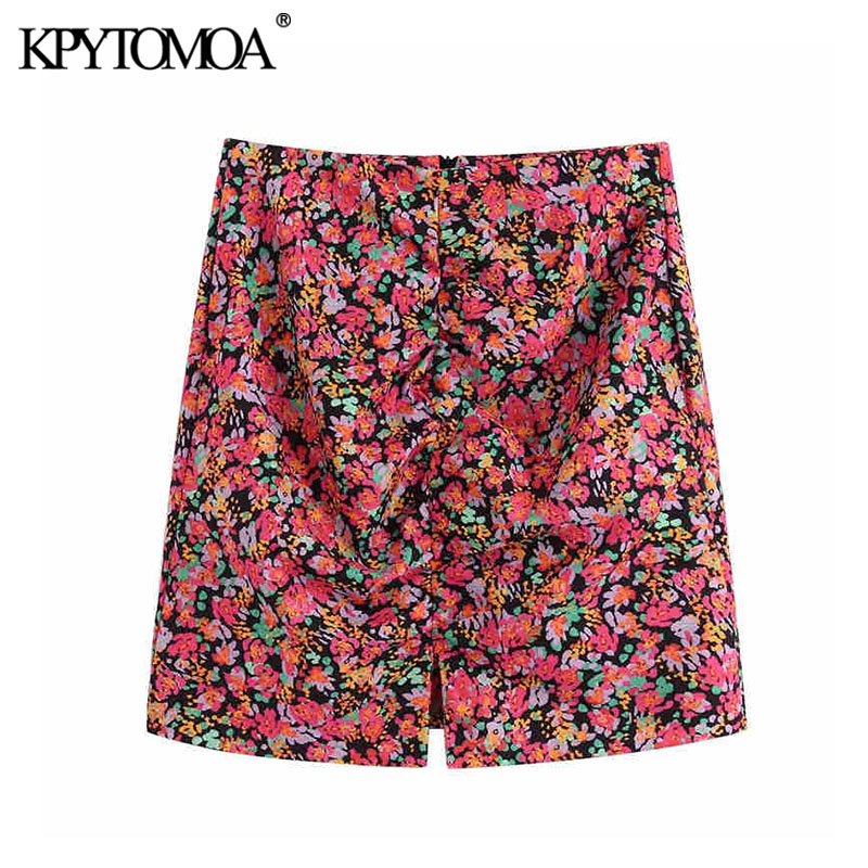 KPYTOMOA Women 2020 Chic Fashion Floral Print Mini Skirt Vintage A Line Back Zipper Female Skirts Casual  Faldas Mujer