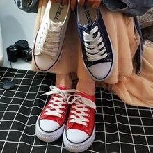 SJJH kadın kanvas sneaker rahat çift ayakkabı rahat dantel up kadın ayakkabıları D003