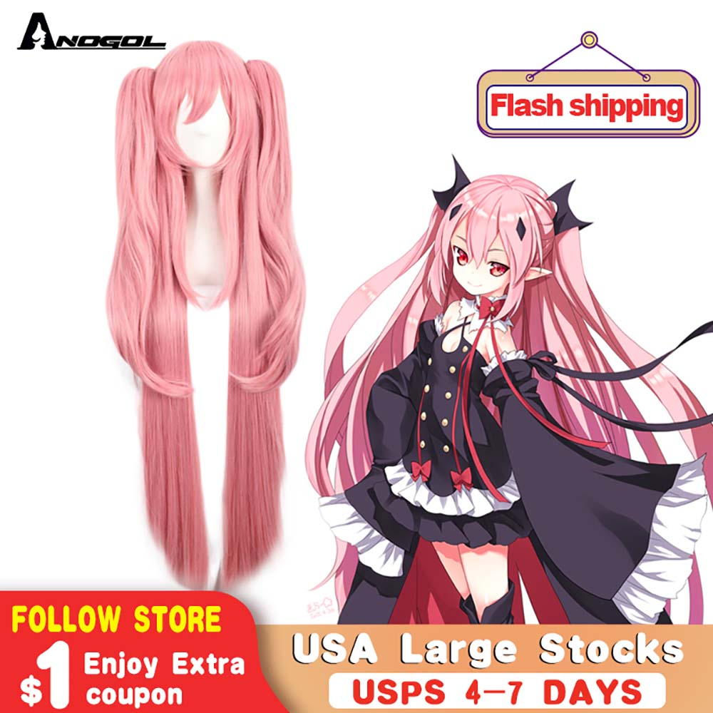 Anogol  Chiaki Nanami Kaname Madoka Seraph Of The End Synthetic Wig Krul Tepes Double Ponytail Pink Cosplay Wig For Halloween