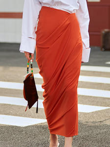 TWOTWINSTYLE Autumn Skirt Irregular-Clothing Asymmetrical Ruched Side-Split High-Waist