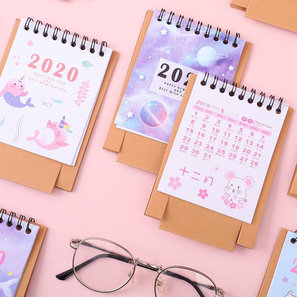 Coloffice Small Desk Calendar 2020 Creative Simple Small Fresh Desktop Ornaments Mini Desk Calendar Office Desk Calendar 1PC
