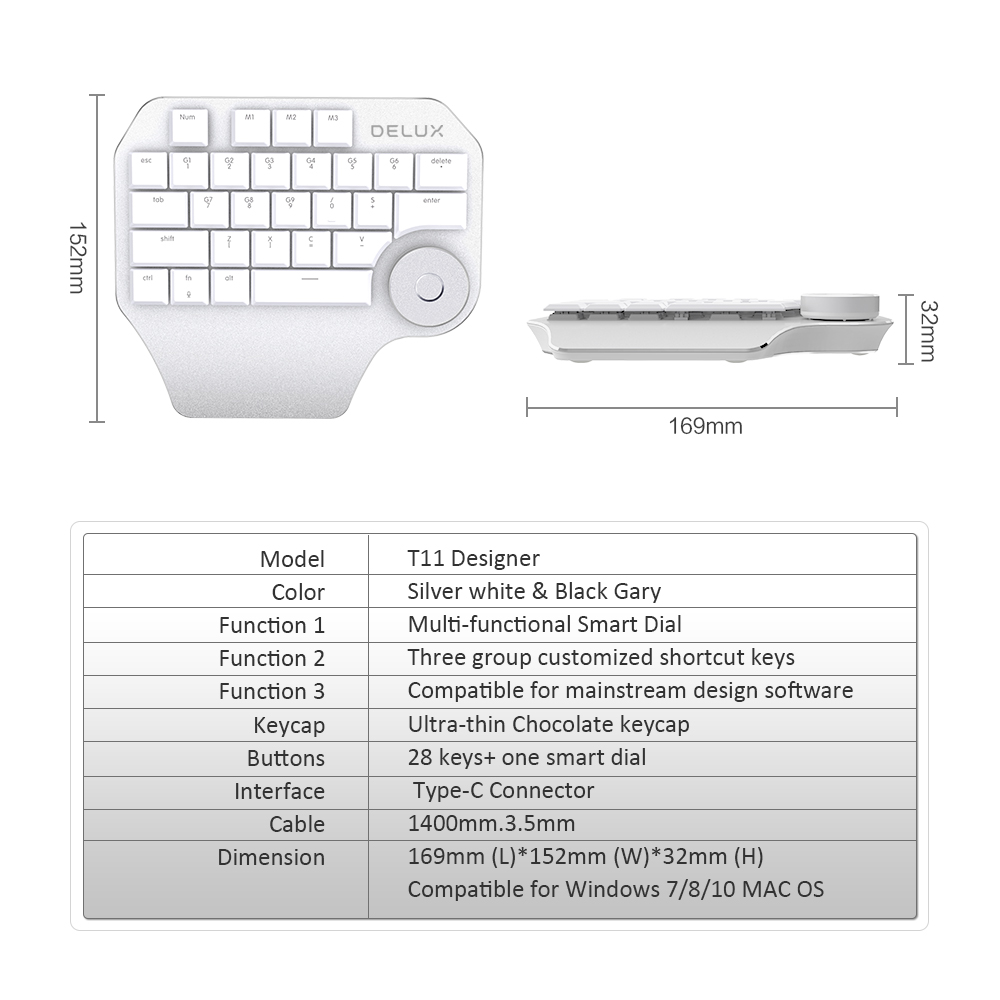 Image 5 - Delux T11 Designer Keyboard with Smart Dial 3 Group Customizable Keys Keypad Compatibility for Wacom Windows Mac Design Softwar-in Keyboards from Computer & Office
