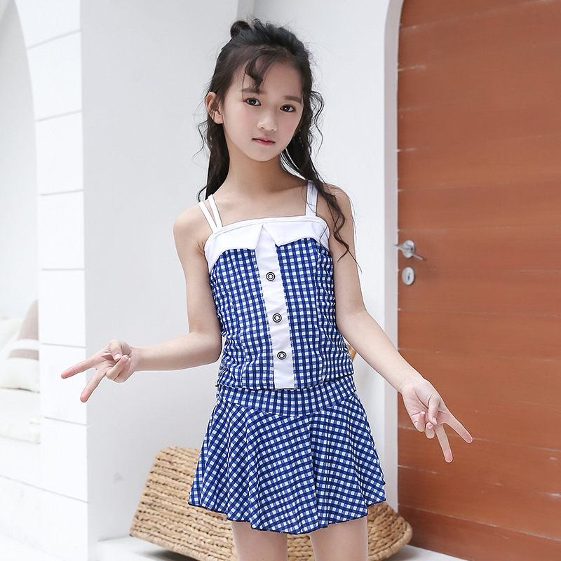 KID'S Swimwear GIRL'S Split Skirt-Swimwear South Korea Big Boy Girls Camisole Plaid Hot Springs Tour Bathing Suit