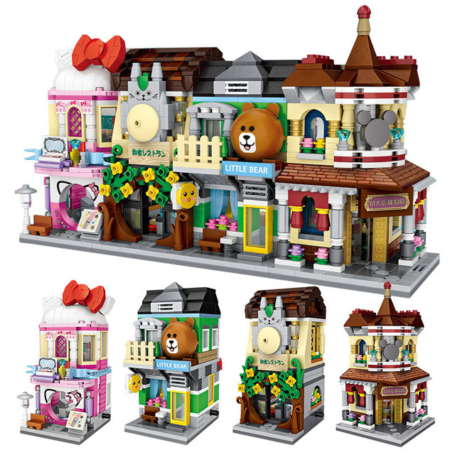 City View Scene Cinema Retail Store Candy Shop Architectures Mini Blocks Models Building Blocks Christmas Toy for Children