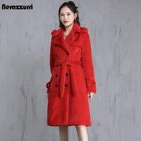 Nerazzurri zima długi czerwony brązowy ciepły gruby puszysty Faux Fur płaszcz trencz dla kobiet podwójne piersi elegancka brytyjska moda 2021