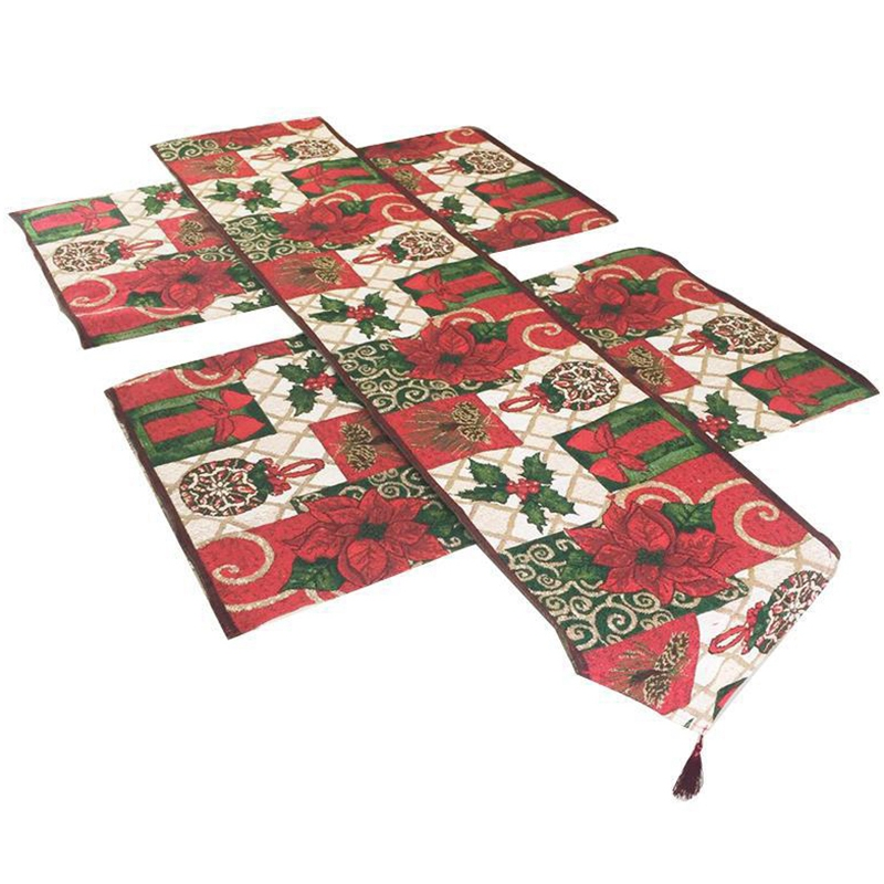 1Pcs Table Flag+4Pcs Placemat Christmas Table Runners Modern Luxury Table Cover for Home Hotel Bar Decoration Cover Tableware|Table Runners|Home & Garden - title=
