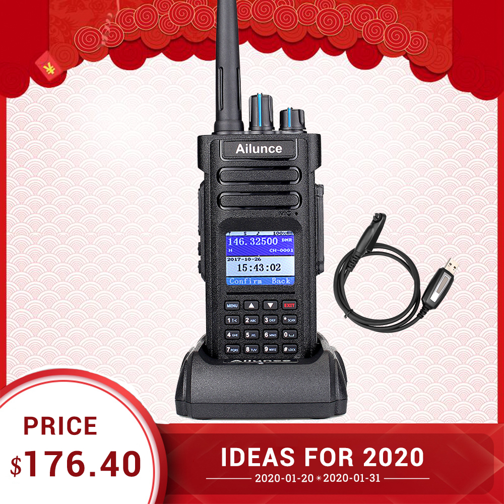 Retevis Ailunce HD1 Digital Walkie Talkie Dual Band DMR Radio DCDM TDMA UHF VHF Radio Station HF Transceiver With Program Cable