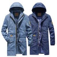 2019 Nuovo Lungo parka uomo cappotto addensare giacca invernale per gli uomini di modo di marca giacca di jeans giacca di jeans degli uomini più formato 4XL