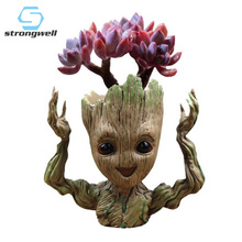 купить Strongwell Baby Groot Flower Pot Pen Pot Holder Plants Flower Pot Cute Action Figures Toys for Kids Gift Desktop Decoration дешево