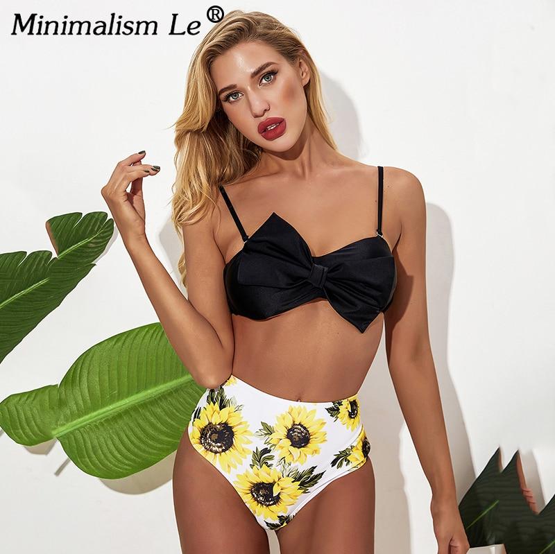 2020 New Solid Bikini High Waist Print Swimwear Women Sexy Backless Swimsuit Female Badage Bathing Suit Summer Beachwear Mujer