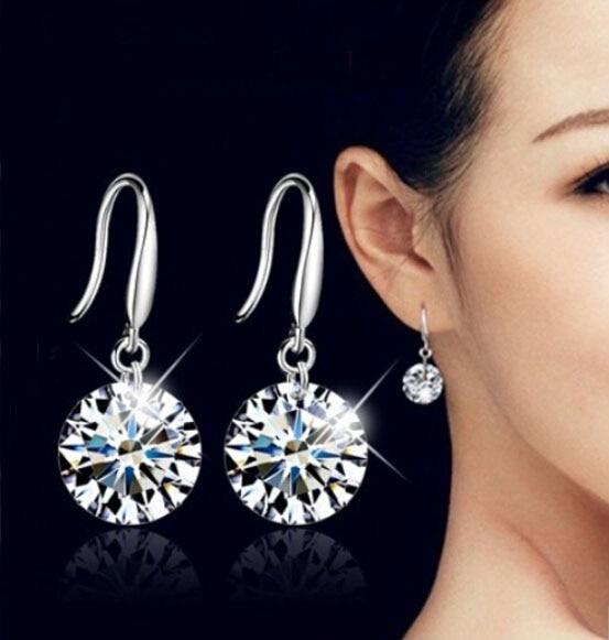 925 Ayar Gümüş küpe brincos dangle bırak uzun küpe kadınlar için kristal bijoux brincos trendy moda hediye takı E407