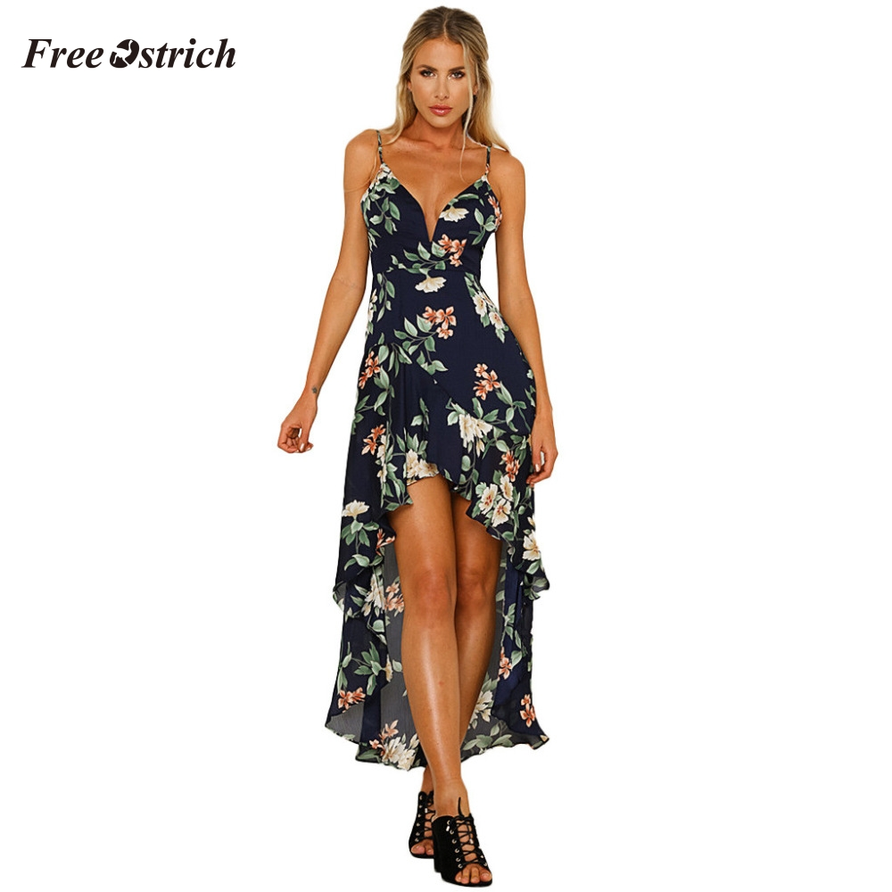 Free Ostrich Womens Summer Boho Maxi Long Dress Evening Party Beach Dresses Sundress Floral Halter Deep V Neck Dress Summer 908