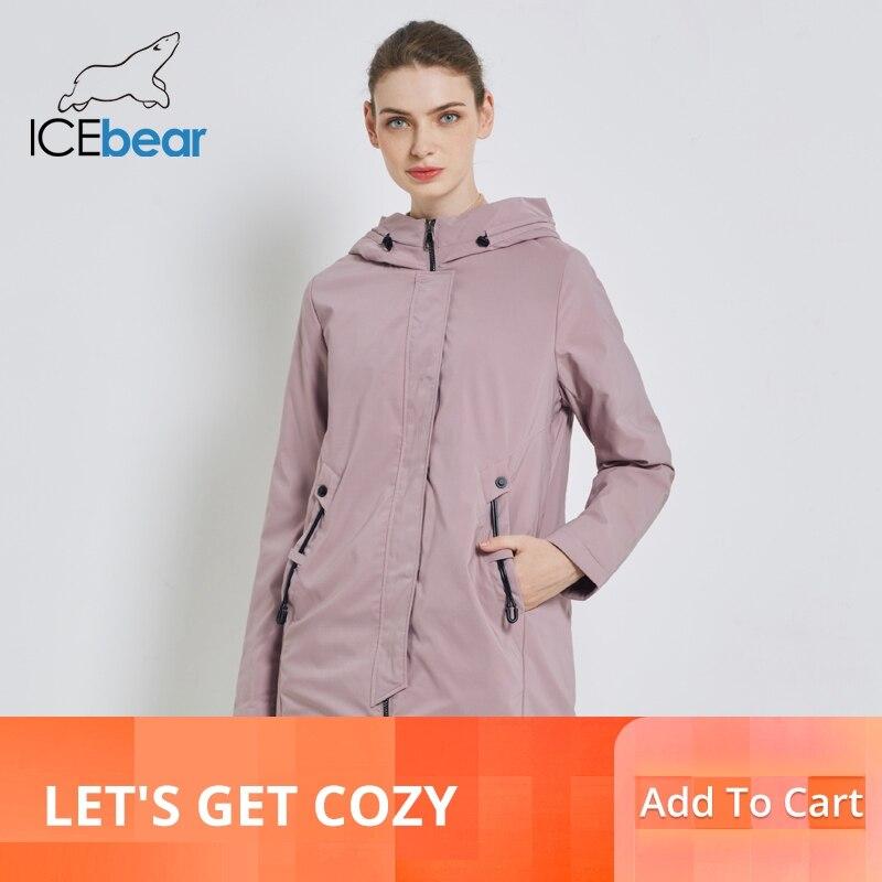 ICEbear 2019 جديد يندبروف سترة نسائية الخريف المرأة معطف عالية الجودة عارضة الإناث معاطف مقنعين الملابس GWC19110I-في سترات فرائية مقلنسة من ملابس نسائية على  مجموعة 1