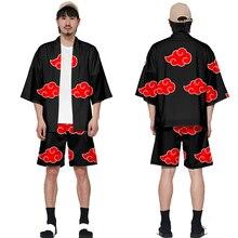 Naruto Akatsuki Red Cloud Kimono Cosplay Frauen Männer Sieben punkt Hülse Halloween Uchiha Itachi Kostüm Jacke