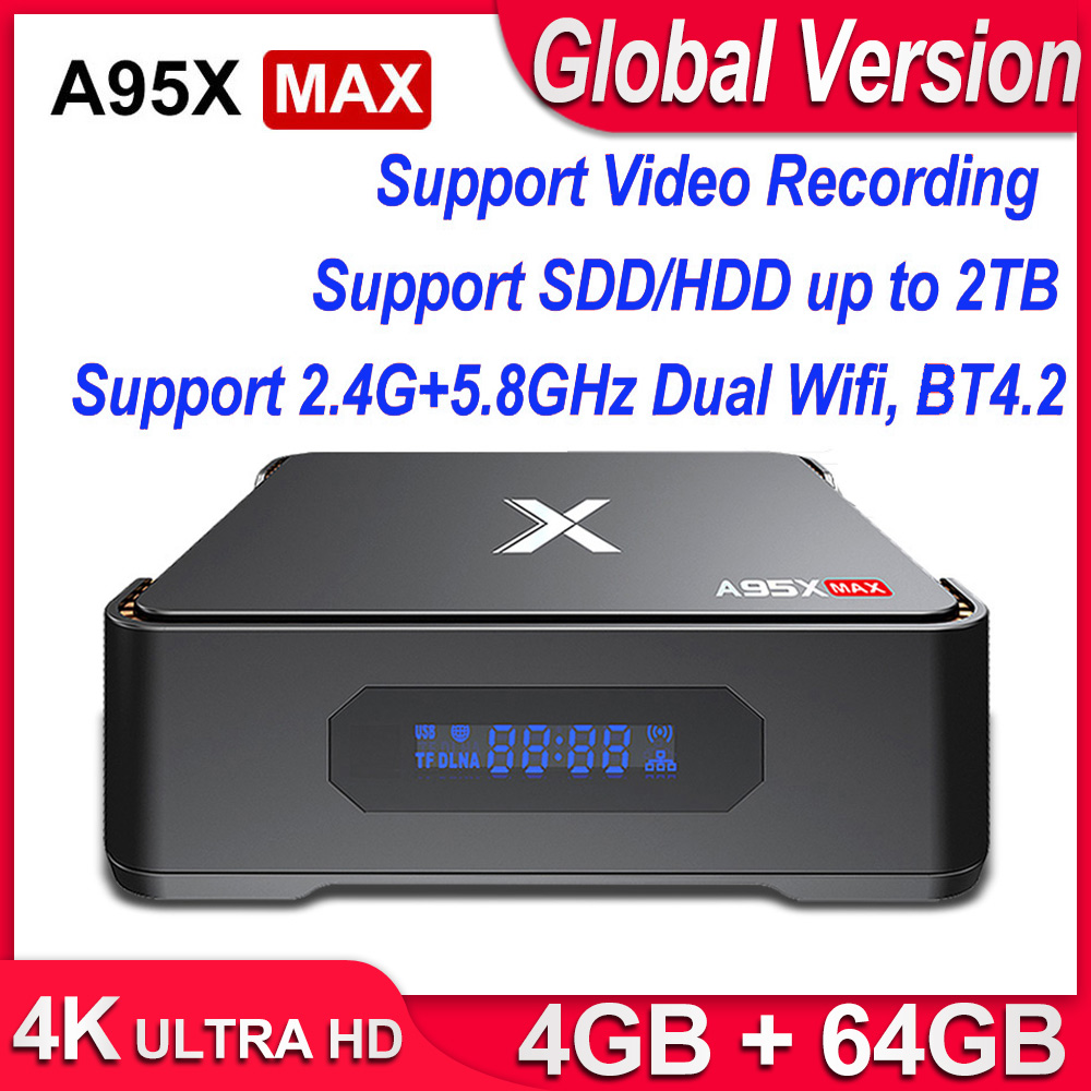 A95X MAX X2 Android 8.1 TV Box 4GB 64GB Amlogic S905X2 2.4G&5G Wifi BT4.2 1000M Smart TV Box Support Video Recording Set Top Box