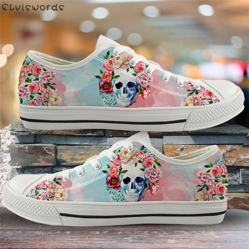 ELVISWORDS New Fashion Skull Flower 3D Pattern Vulcanized Shoes Women Light Canvas Low Top Flats Female Outdoor Sneaker Shoes
