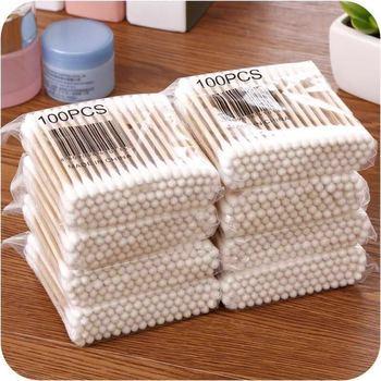 600 unids/pack de algodón de bambú de brotes de hisopos de algodón médico Limpieza de orejas palos de madera maquillaje herramientas de salud tampones Cotonete