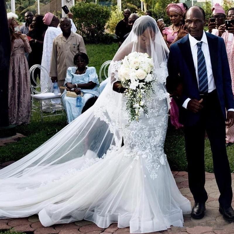 Сад Русалка Свадебные платья с 3D цветочные кружева 2020 с открытыми плечами размера плюс африканские страны пляж Открытый свадебные платья