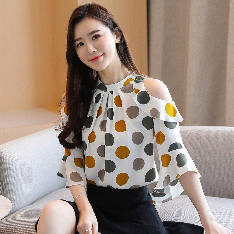 Korean Chiffon Blouses Women Polka Dot Shirt Tops Woman Ruffles Blouse Off-Shoulder Tops Blusas Femininas Elegante Camisas Mujer
