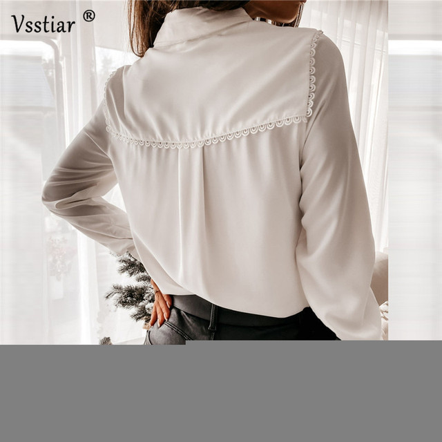 Long Sleeve Lace Blouse Sexy Office Ladies Tops Elegant Patchwork Solid Casual Shirt Plus Size White Black 2021 New Clothing 3