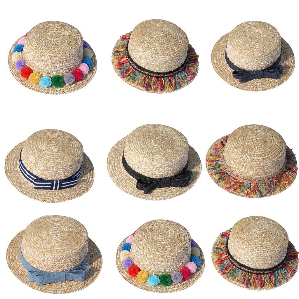 Summer Parent-child Women Baby Kids Girl Beach Bow Straw Flat Brim Sun Hat Cap