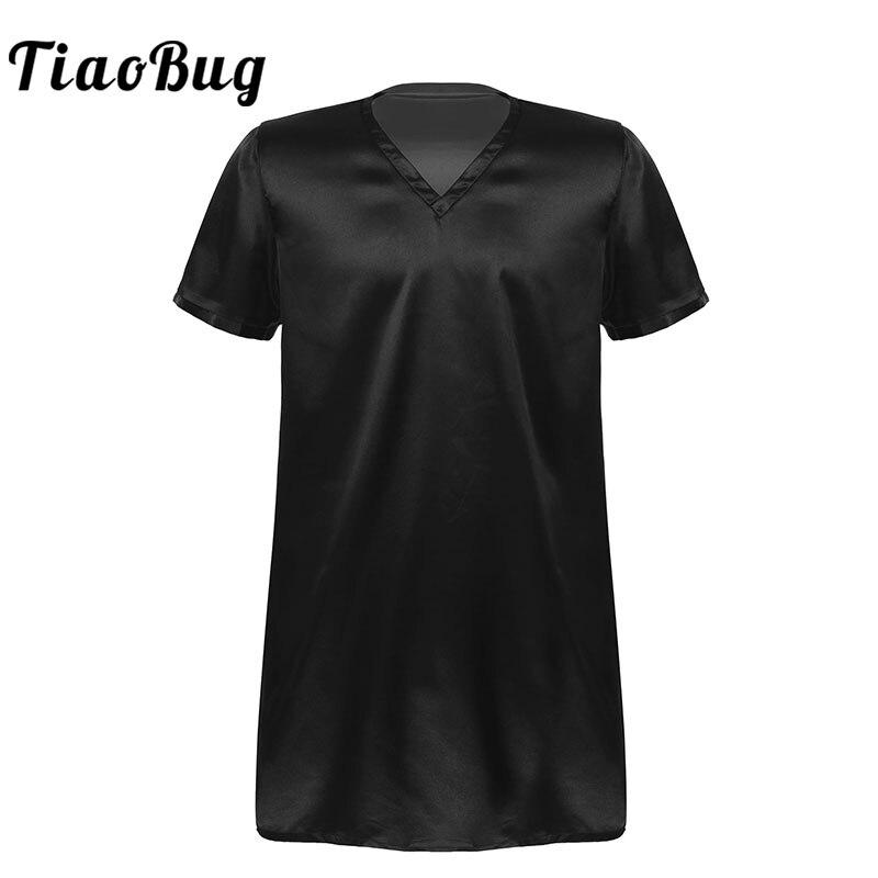 Men's Satin Nightshirts Sleepwear Adult Summer Solid Color V Neck Short Sleeve Home Wear Pyjama Sleep Tops Nightwear