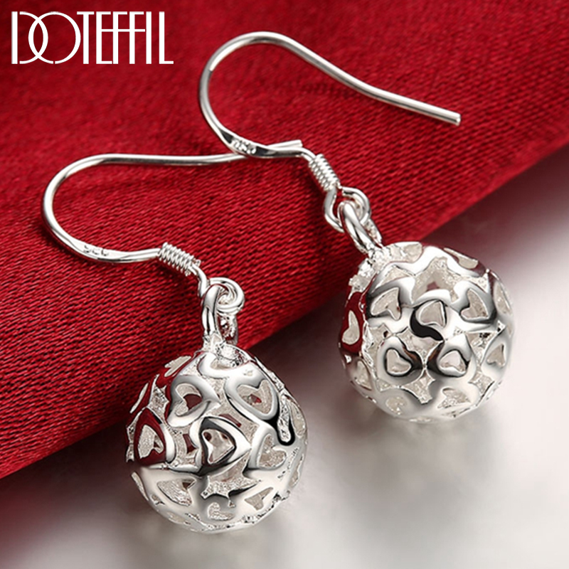 DOTEFFIL 925 Sterling Silver Hollow Ball Heart Drop Earrings For Woman Wedding Engagement Party Fashion Charm Jewelry