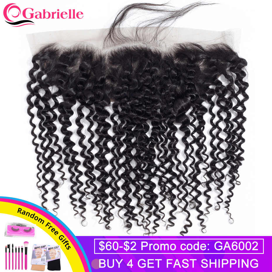 Gabrielle Brazilian Kinky Curly 13x4 Lace Frontal Closure Free/Middle/Three Part 8-22inch Natural Color Remy Human Hair Closure