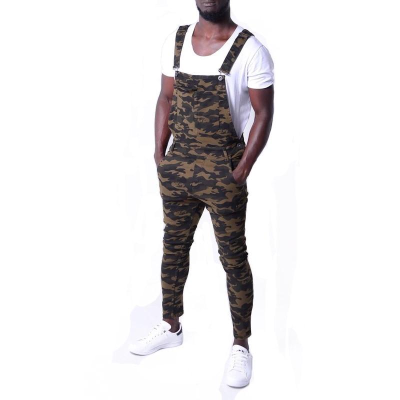 KIOVNO Men's Cargo Casual Denim Bib Overalls Fashion Camouflage Jeans Jumpsuits For Male Size S-3XL
