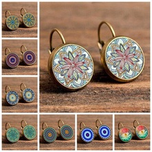 Gold color round earring Flower Drop Earrings For Women Vintage  Geometric Pattern Round Earings  bohemia Jewelry vintage kaleidoscope flower drop earring for women blue purple indian mandala pattern round eardrop wholesale brincos 2018