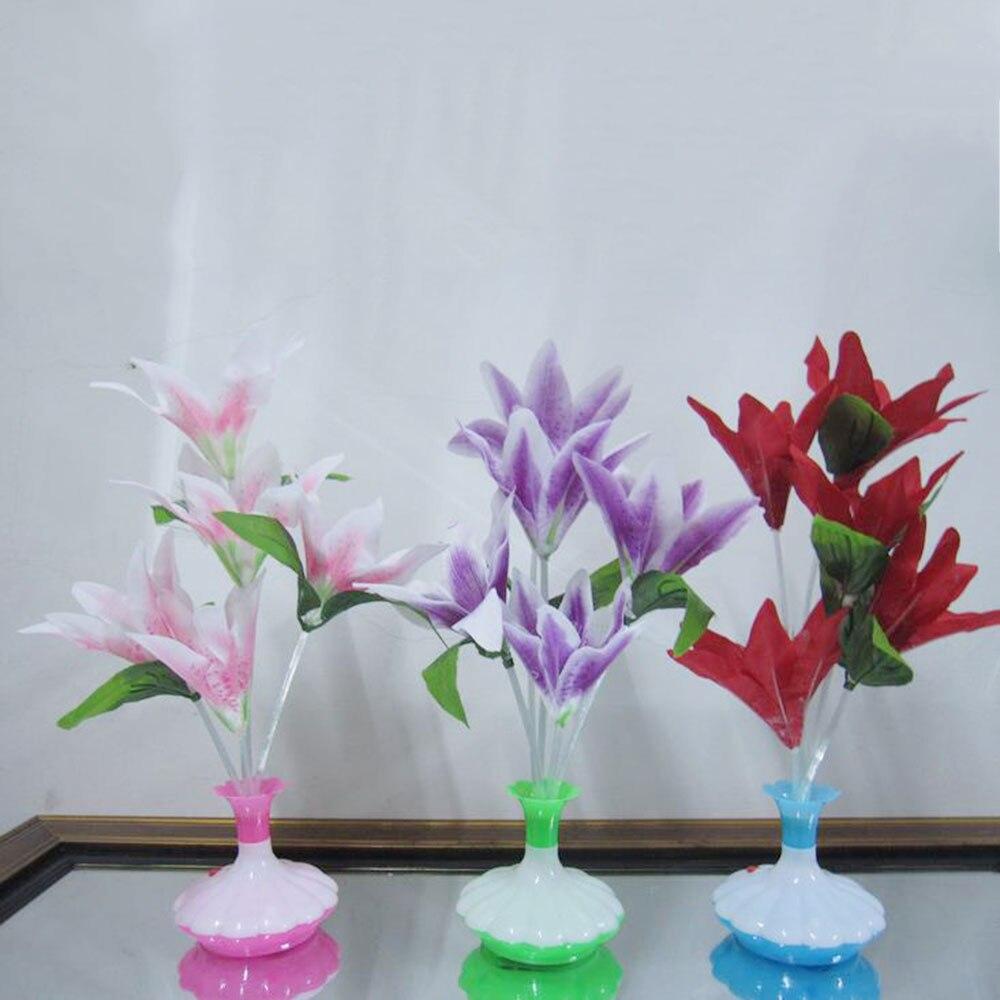LED Optical Fiber Lamp Flower Lily Vase Night Light Decoration Colorful