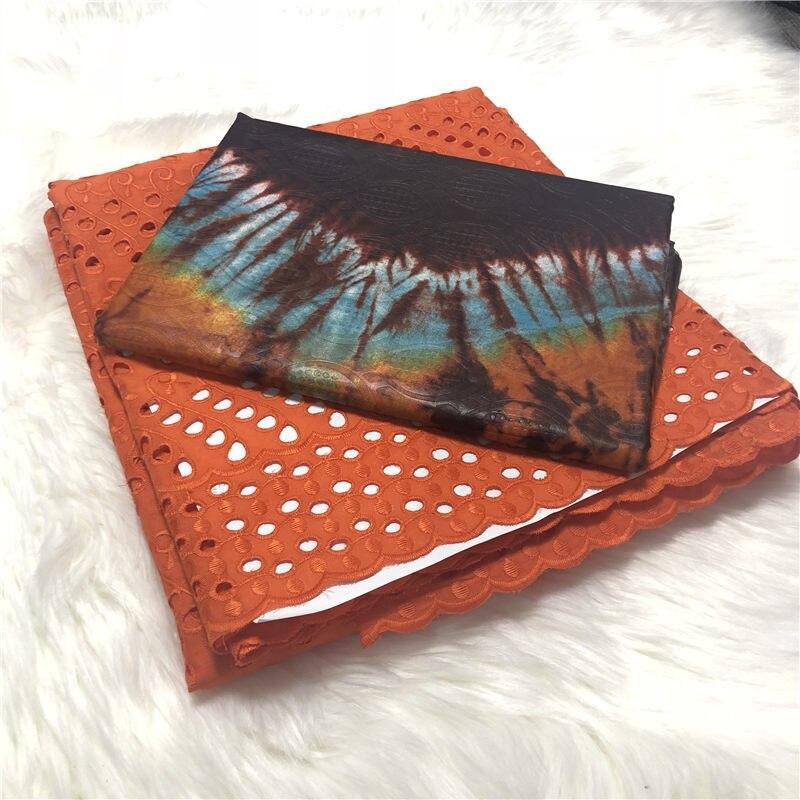 5yards de relief nigérian Bazin brocart tissu avec 2.5yard doux dentelle suisse pour Femme Robe nouveau Bazin Riche Brode tissu ABS30